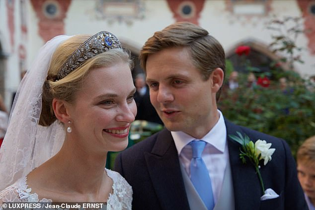 The Duchess wore a stunning tiara for the ceremony, an exquisite piece from the Luxembourg family collection, which features a diamond leaf and berry design and a pale aquamarine stone