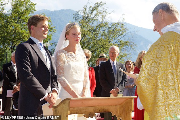 Gabriella Maria Pilar Yolande Joséphine-Charlotte, 26, whose full title is Archduchess of Austria, tied the knot with Prince Henri, 28, on Saturday at the Schloss Tratzberg in Jenbach