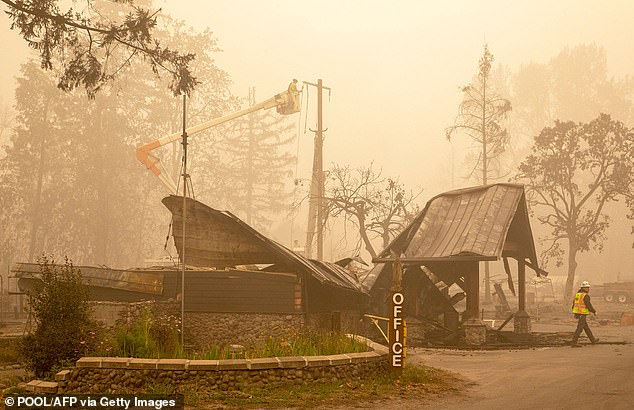 The incident comes as California, Oregon (pictured) and Washington state suffer from historic wildfires that have burned faster and farther than ever before