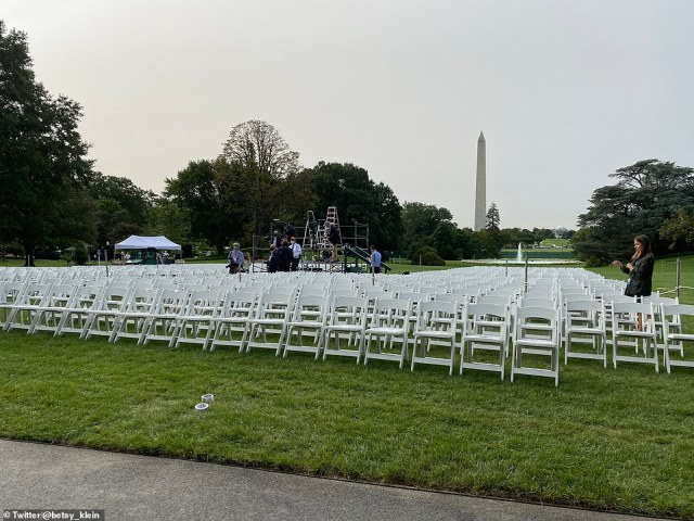 The ceremony on the South Lawn will host more than 700 people with little social distancing