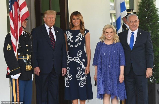 President Donald Trump and first lady Melania Trump welcomePrime Minister of Israel Benjamin Netanyahu and his wife Sara to the White House for the signing ceremony
