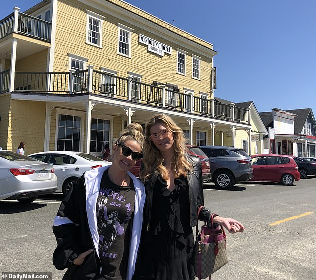 Brandi says she fobbed Denise off with a string of excuses so things wouldn't go too far. 'She was literally texting me every single day. I just didn't want to be alone with her, because I felt that she had a lot of dude energy, like she really wanted me.' Pictured: Brandi and Denise on the 2019 trip Brandi claims they had sex