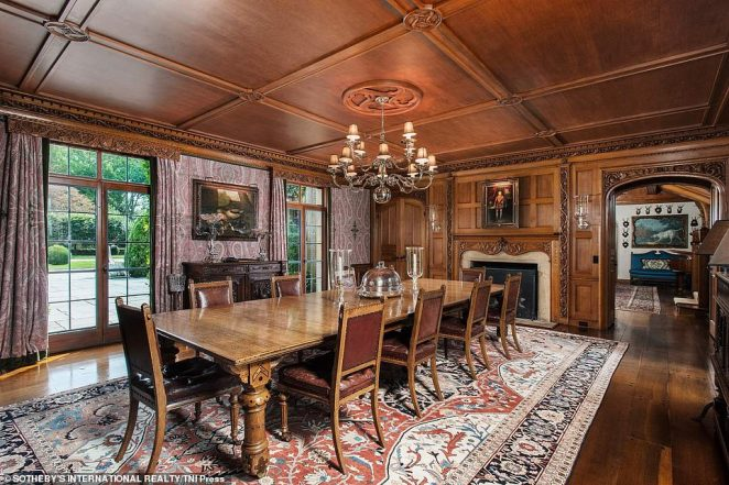 The home (dining area pictured) is listed by real estate agent Janet Milligan of Sotheby's