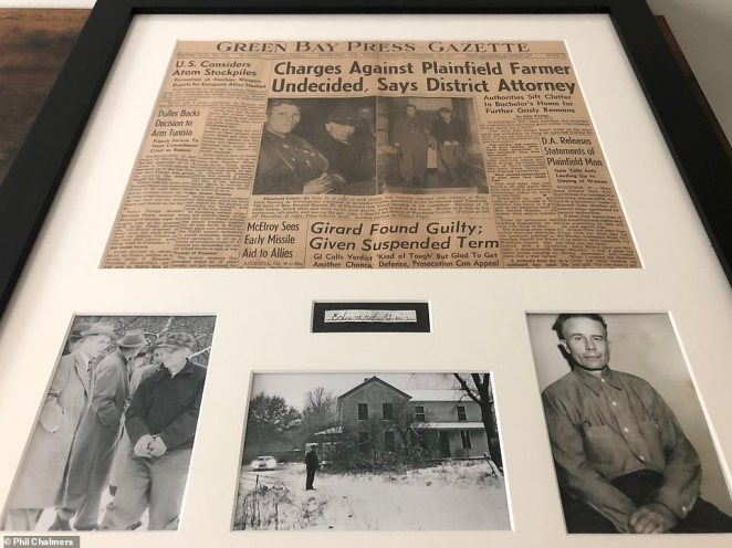 Ed Gein, seen above, confessed to killing two women in the 1950s inPlainfield, Wisconsin. He was called the Plainfield Ghoul because he exhumed bodies fromcemeteries. He died in 1984 at the age of 77. The newspaper clipping and images are part of Chalmers' collection