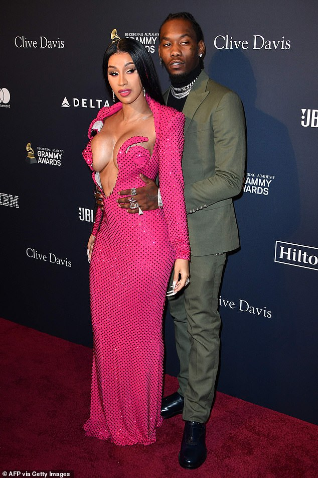 Shock split: Cardi B has filed for divorce from Offset (the couple are seen here at a pre-Grammys party in January 2020)
