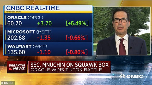 Treasury Secretary Steven Mnuchin on Monday said the Trump administration would review the deal to make Oracle TikTok's `` trusted technology partner ''