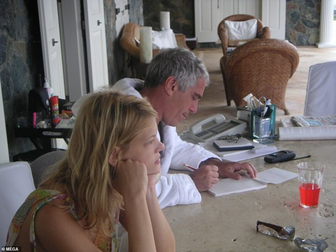 After spending time on the island, the guest told how Epstein exuded power. 'I have never met such a self-assured confident person in my life and it was rightfully so because he was so powerful and he knew it,' they explained. Pictured: Epstein jotting down some notes while next to Marcinkova