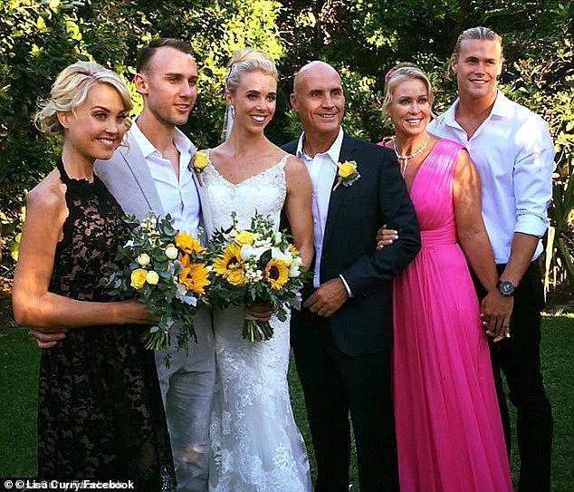 Memories: Jaimi (far left) was a bridesmaid at her sisterMorgan's (centre left) wedding toRyan Gruellin May 2016. The beachside ceremony took place in Noosa, Queensland