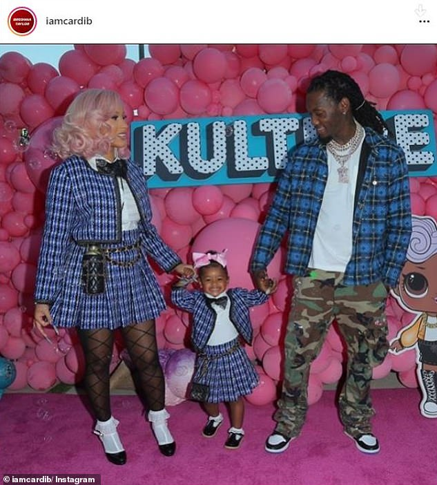 Divorce: Cardi 'is seeking primary physical custody as well as legal custody' of Kulture as well as child support and says the marriage is 'irretrievably broken' (the couple are pictured at their daughter's second birthday party)
