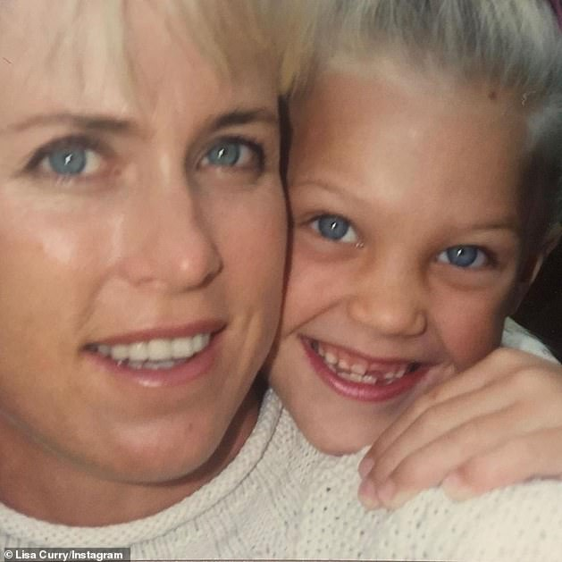 Jaimi is pictured as a child with her mother, a three-time Olympian and former swimmer