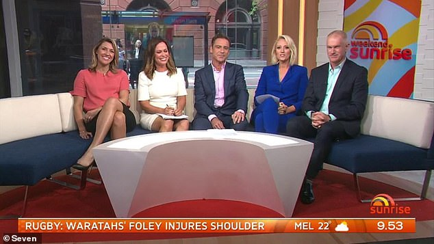Reeve, far right, was a long term contributor to Weekend Sunrise but is understood to be living on the Gold Coast