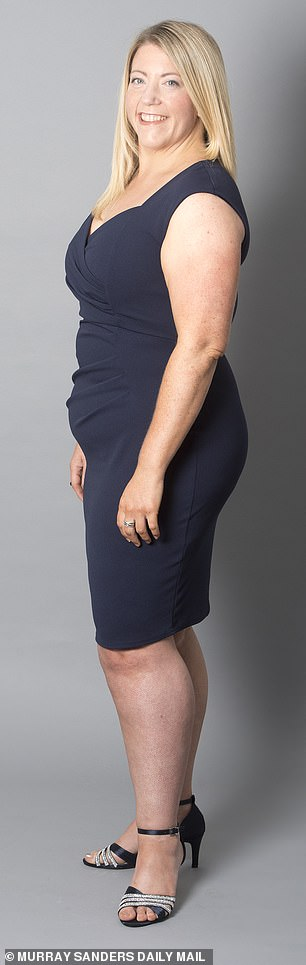 She said: 'I was a size 20 and now I'm a size 16 and I've lost 2½ in from my waist'