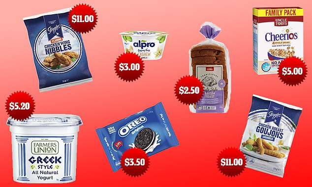 Coles has sparked a supermarket price war after slashing the cost of popular grocery items - including $11 Steggles Chicken Wings, $5.20 Farmers Union Greek Style Yoghurt, $3 Alpro Cashew Yoghurt, $2.50 Coles Cafe Raisin Toast, $5 Uncle Toby's Cheerios Multigrain Cereal, $3.50 Oreo Family Pack Creme Biscuits and $11 Steggles Chicken Goujons