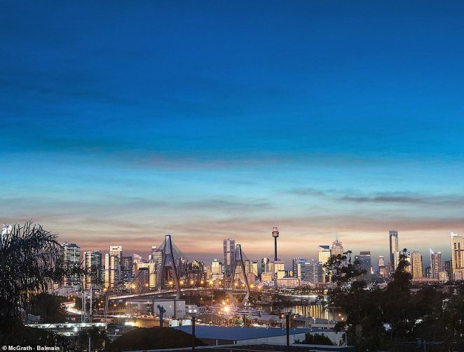 The master bedroom offers views over the skyline of Sydney CBD, which is four kilometres from the factory door
