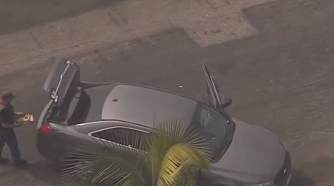 The LA County Sheriff's SWAT team pinned down and arrested a man suspected to be the Compton shooter who ambushed and shot two deputies in the head at the weekend, according to several law enforcement sources. Pictured the scene of the carjacking arrest above