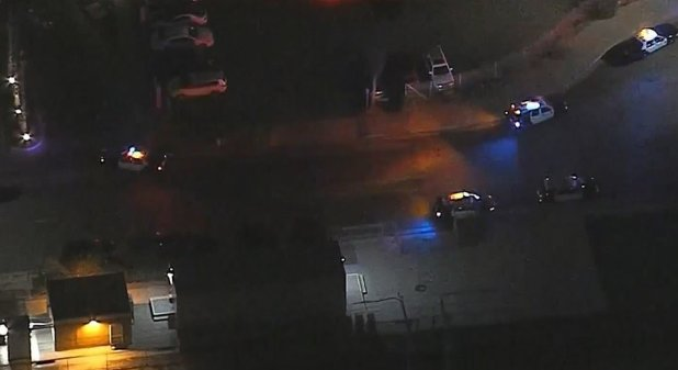 Aerial footage showed several police vehicles being parked in the dark, while the suspect vehicle was abandoned on the road.