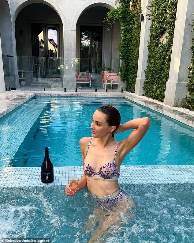 'I'm so excited!' Inside Rebecca Judd's (pictured) very stylish garden next to the pool of her $7.3million Brighton mansion