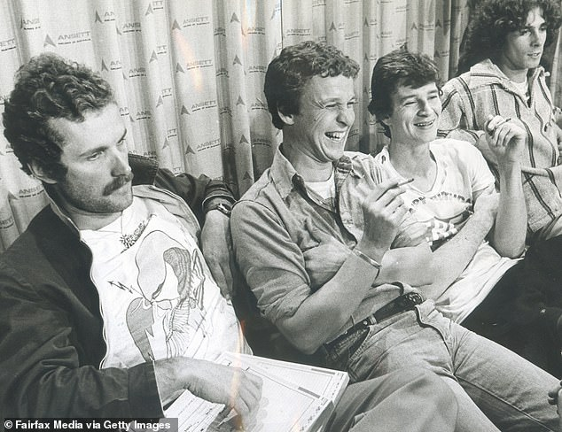'Freddie' Strauks, 'Shirley' Strachan, Red Symons and Bob'Bongo' Starkie during an interview in 1976