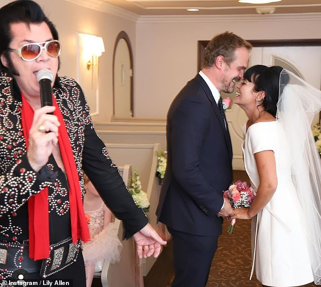 Said 'I do': Lily and David exchanged their vows in Las Vegas on Monday, September 7, officiated by an Elvis Presley impersonator