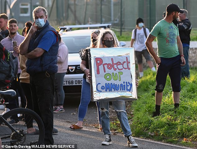 Around 100 villagers attended a protest this week on Tuesday - the same day it was announced a deserted barracks in Folkestone would also be used