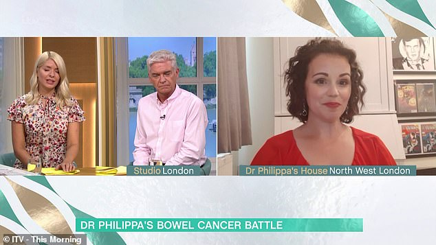 The mother-of-four admitted to hosts Holly Willoughby and Philip Schofield (both pictured) she thought she was 'too young' to have the disease, which is most common in those over 60,