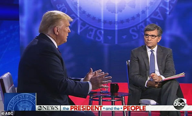 Pressed by ordinary voter - then by anchor: When Donald Trump told Julie Bart that people did not like wearing masks, George Stephanopoulos interrupted to ask who, prompting Trump to reply: 'Waiters'