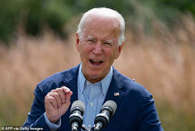 Democratic nominee Joe Biden (pictured in Delaware on Monday) has won the backing of Scientific American magazine ahead of the November election