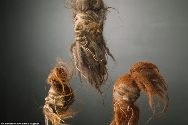 Shocking and bizarre: Three of the shrunken heads that Unclaimed Baggage has come across