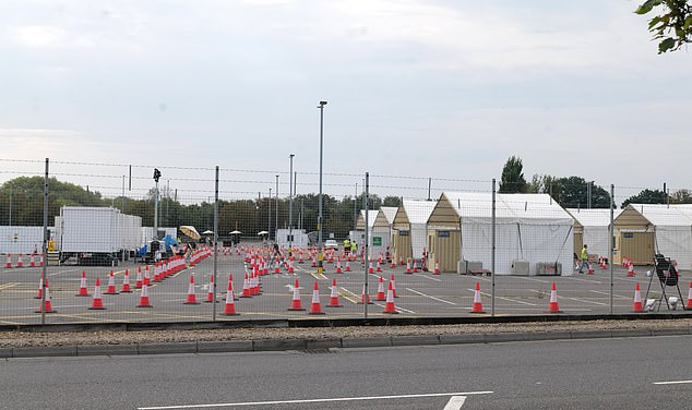The NHS testing centre at London's Heathrow airport, pictured very quiet again. Meanwhile, others have reported driving for two hours from West Sussex only to be turned away