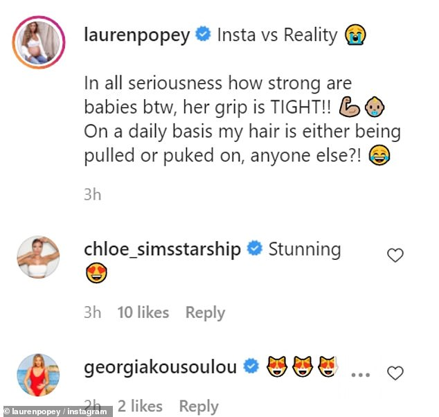 Lauren captioned the image: 'Insta vs Reality,' accompanied by laughing emojis. 'In all seriousness how strong are babies btw, her grip is TIGHT!'