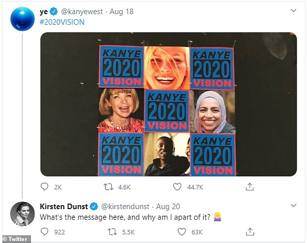 A tweet of Kanye West's campaign sign that includes an image of actress Kirsten Dunst who tweeted in response, 'What's the message here, and why am I apart of it?'