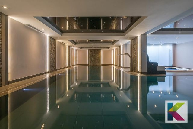 The property has its own L-shaped swimming pool, while a sauna, steam room and sensory room aren't too far away