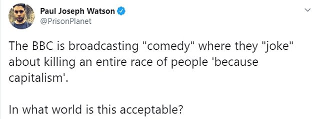 """The segment fueled anger from a growing chorus of licence-fee payers who question why the BBC is 'broadcasting """"comedy"""" where they """"joke"""" about killing an entire race of people'"""
