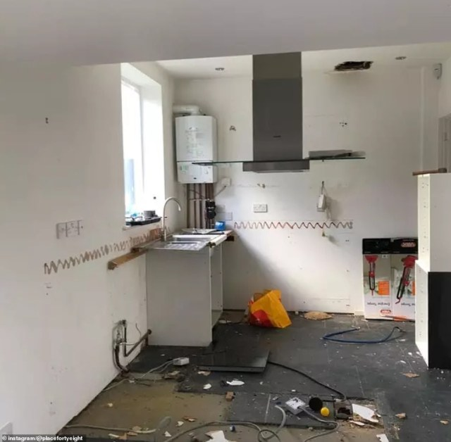 Katy ripped out many of the property's features, including the white and grey kitchen, leaving just a shell, before she began transforming the space