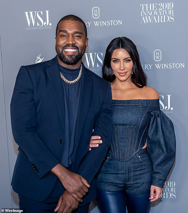 West's wife Kim Kardashian has not commented publicly on her attempt to break free from her music contracts.  They are pictured together last November