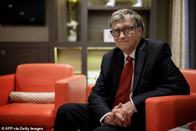 Bill Gates criticized the hiring of Dr Scott Atlas, a neuroradiologist who does not have any background in epidemiology or infectious diseases, as the Trump administration's new coronavirus adviser. Pictured: Gates during the funding conference of Global Fund to Fight AIDS in Lyon, France, October 2019