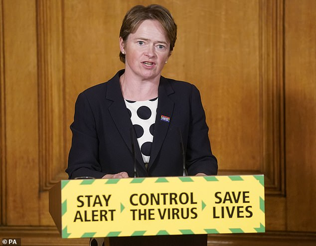 Baroness Dido Harding pictured at a Downing Street press conference in July