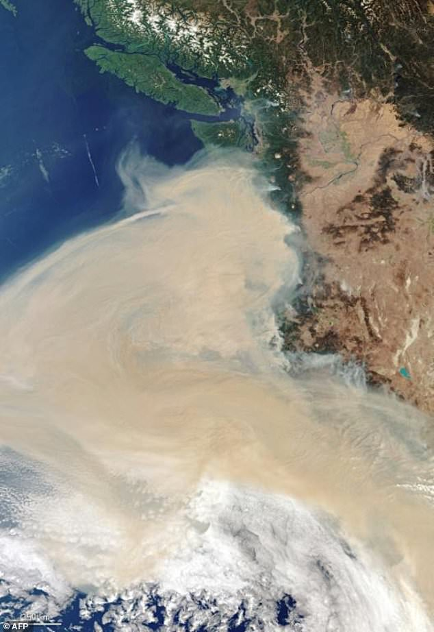 This handout image taken on September 10 from Copernicus-Sentinel-3 shows the smoke plume off the west coast of the states of Oregon, Washington and California, as fires rage across the continent
