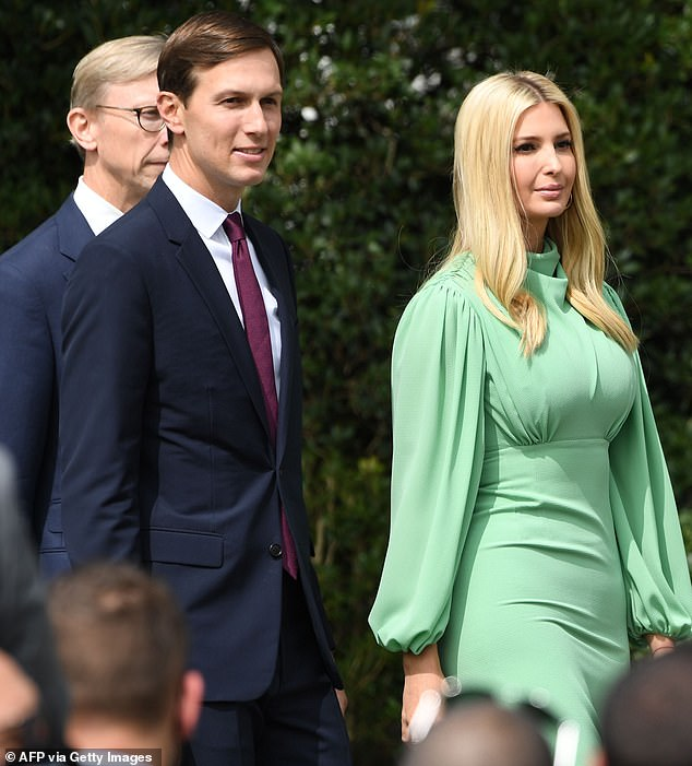 Excited: Ivanka and her husband Jared Kushner were at the White House on Tuesday to watch the signing of historic diplomatic deals between Israel, the United Arab Emirates, and Bahrain