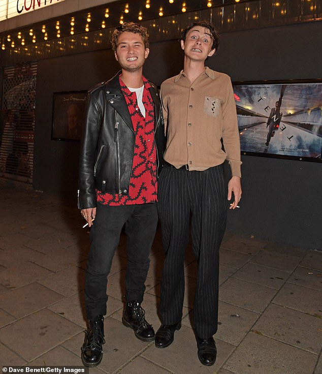 Support: The actress, 55, and her actor son, 23, arrived at the event to support their new film Contact at The Everyman Screen on the Green in north London on Wednesday (photo with Sonny Hall)