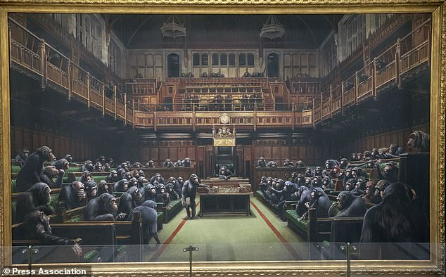 Devolved Parliament, which is four metres wide, was first unveiled as part of the Bristol artist's exhibition Banksy vs Bristol Museum in 2009. It went under the hammer at Sotheby's in London where it sold for £9,879,500