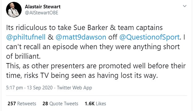 Unimpressed: Broadcasting legend Alistair Stewart was among those expressing outrage at the decision - warning TV risks 'losing its way'