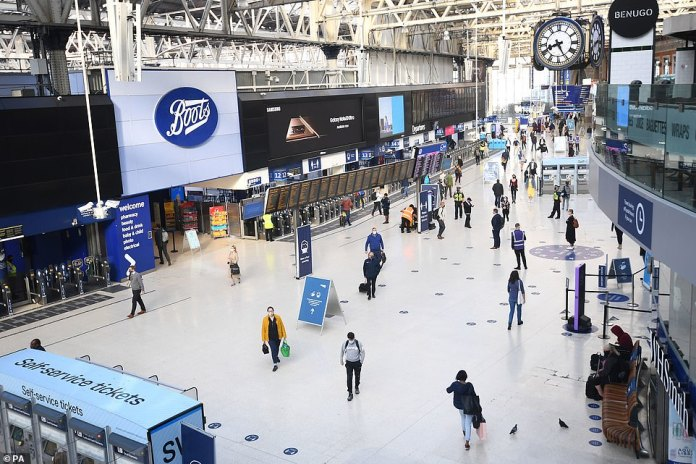 The concourse at London's Waterloo station - which is one of the capital's busiest - during the rush hour earlier this month