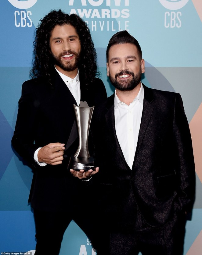 Missed chance: Dan + Shay were also nominated for Song of the Year for 10,000 hours, which featured Justin Bieber