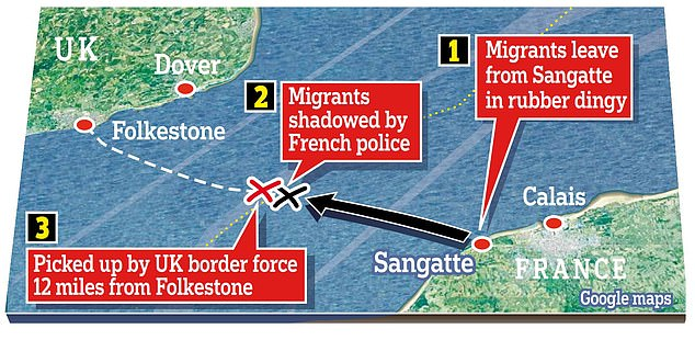 Flashpoint: The area of the English Channel where the drama unfolded yesterday morning