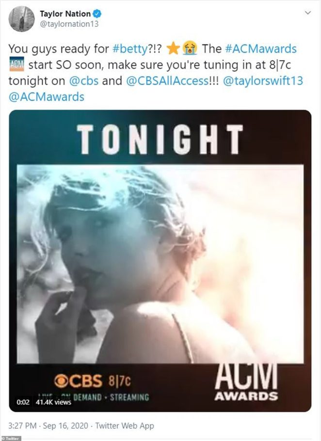 Get excited:Prior to taking the stage, Swift's official fan page hyped up devout Swifties by urging them to tune into the world premiere performance