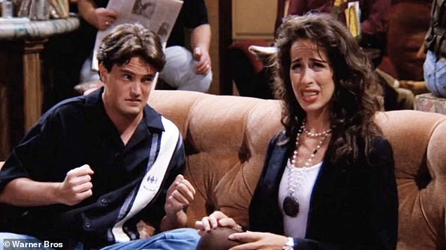 Doesn't get old! When asked by The Morning Show hosts Larry Emdur and Kylie Gillies about her catchphrase, Maggie said she was 'never sick of hearing it'. Pictured with Matthew Perry