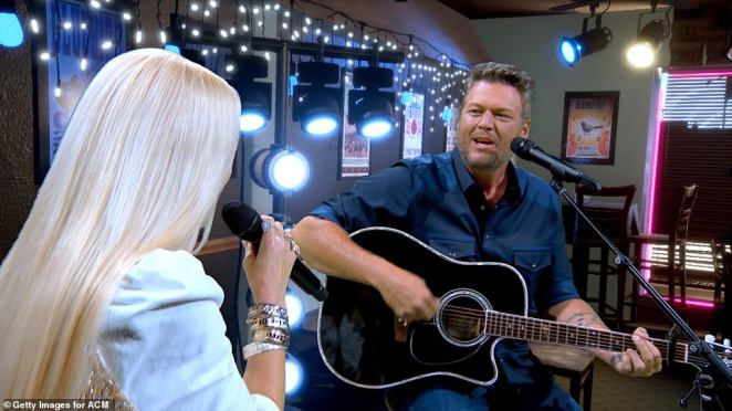 Happy Anywhere:Lovebirds Blake Shelton and Gwen Stefani provided all of the feels, while performing their song Happy Anywhere from a studio in Los Angeles. The pair were unable to travel to Nashville for the show