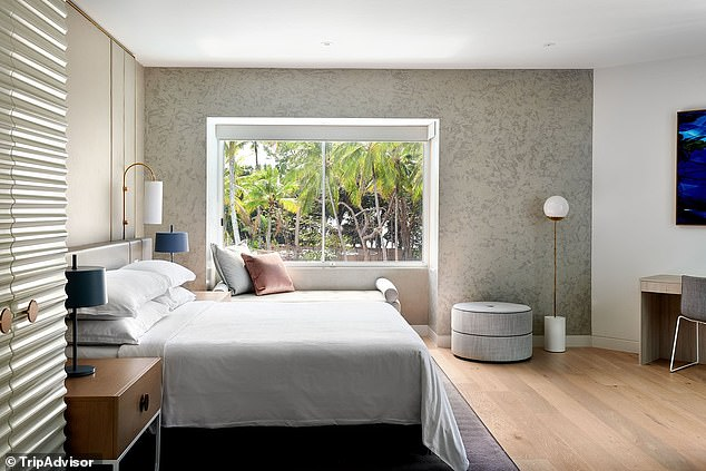 The Sheraton Grand Mirage Resort is located an hour's drive north of Cairns. Pictured is one of the lavish five-star rooms