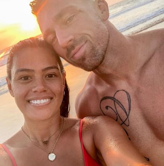 Anti-vaxxer and rugby league player Bryce Cartwright (pictured with wifeShanelle) has been released from the last year of his contract with the Gold Coast Titans with some in the club holding concerns for his welfare